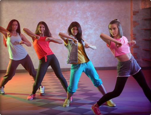 Four teenage girls dance hip hop at capital city dance