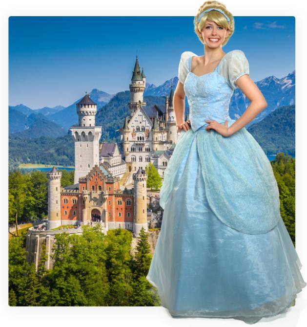 Sleeping Beauty posing in front of her castle