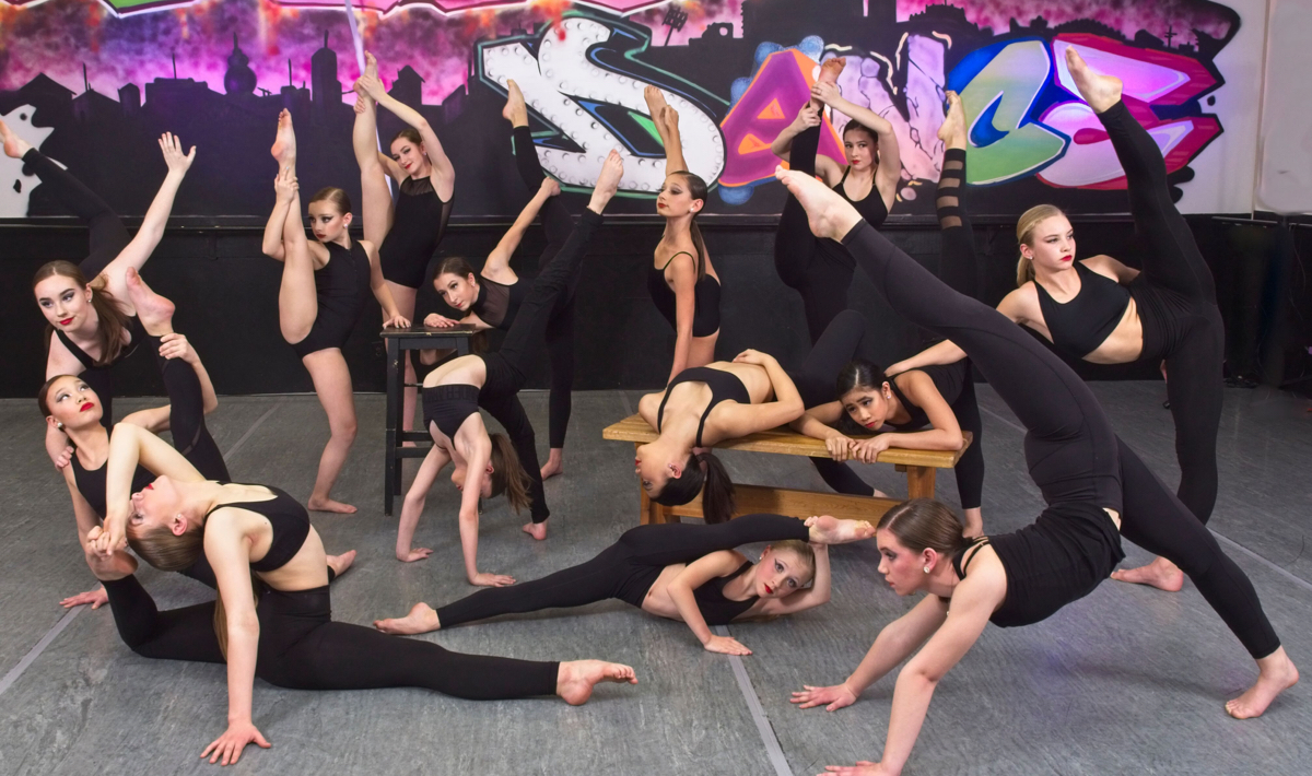 Contemporary Dancers pose together at Capital City Dance