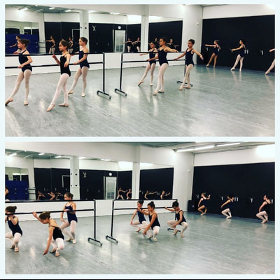 A ballet dance class does barr work exercises at capital city dance